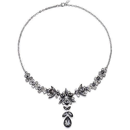 MECTALII Black White Rhinestone Crystal Petal Flower Teardrop Filigree Bridal Wedding Y Pendant Necklace by MECTALII