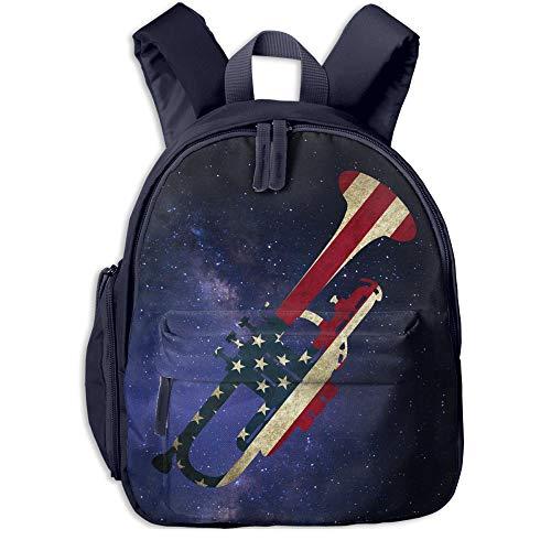 (American Flag Patriotic Trumpet Gift Kids Lightweight Canvas Travel Backpacks School Book Bag)