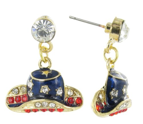 Gold Patriotic Rodeo Hat Dangle Stud Earring - Clear and Red Crystal with Navy Blue Enamel