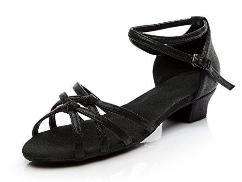 Height EU39 Kids Latin Dance Black Child Dance UK6 Dance Soft Shoes Shoes Children's Girl Shoes 5cm with Big Girl Latin Shoes ShangYi 3 wZqHx4Bqf