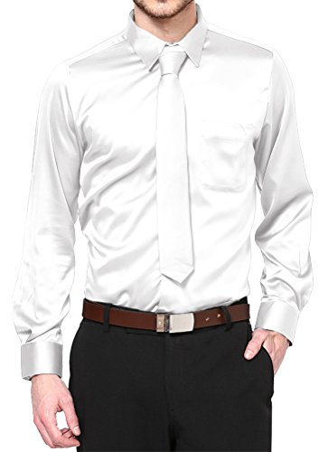(Boy's White Satin Dress Shirt Set Prom Dance Party Costume (Youth)
