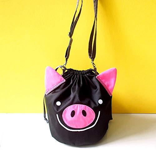 Cute Goth Pig Crossbody Funny Piglet Slouchy Bucket Purse Drawstring Cosplay Outfit Bag - Black Hog