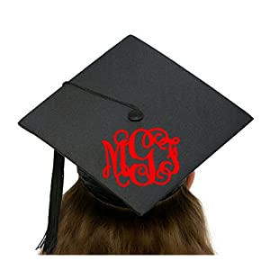 Vine Swirly Monogram to Personalize a Graduation Commencement Cap or Hat