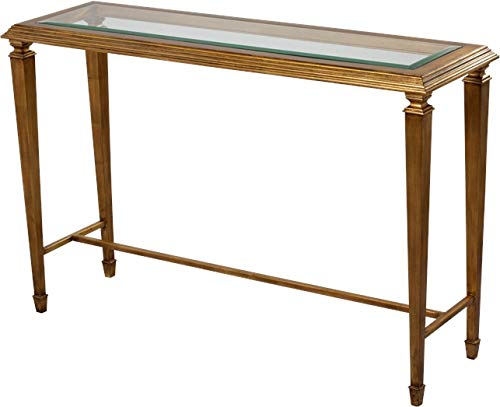 Scarborough House Console Table Beveled Glass Top Antique Gold Leaf Neo Classic