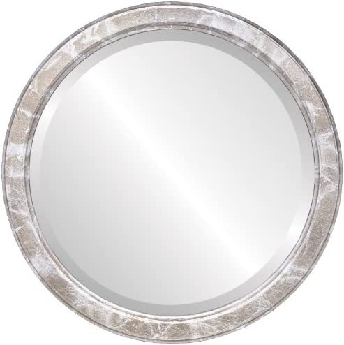 Round Beveled Wall Mirror for Home Decor – Toronto Style – Champagne Silver – 26×26 Outside Dimensions