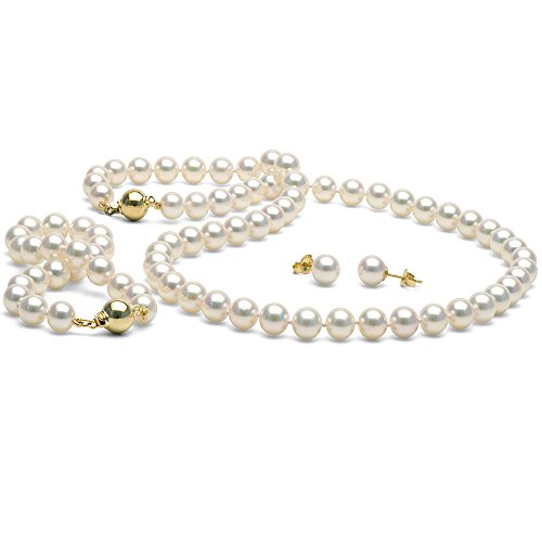 14K Cultured White Japanese Saltwater Akoya Pearl 3-piece Jewelry Set, 7.0-7.5mm - 18-Inch Necklace, AA+ Quality, Yellow Gold by Pure Pearls