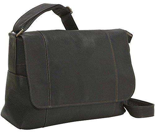 LeDonne Leather Flap Over Shoulder Bag, Black by LeDonne