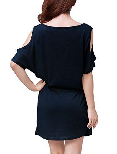 Allegra K Mujer Cut Out hombro Batwing manga verano corto camiseta vestidos Azul oscuro