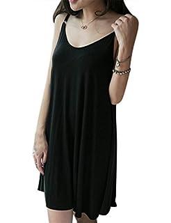 Cibeat Vestido de color solido elegante simple de las mujeres Vestido de honda sin respaldo atractivo