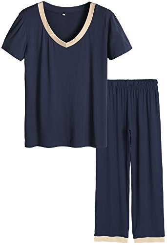 (Latuza Women's V-Neck Sleepwear Short Sleeves Top with Pants Pajama Set 3X Navy)