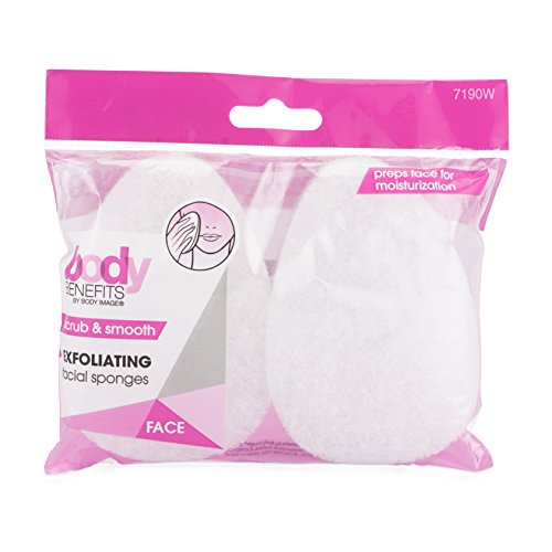 Body Benefits Exfoliating Facial Scrub Sponges, 0.03 Pound (Pack of 36), for Improved Facial Cleansing, Circulation and a Smoother, Healthier Look, Self Care Through Skin Care