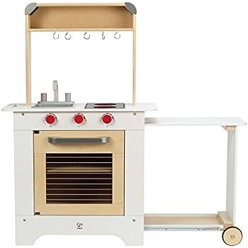 Hape gourmet fridge wooden play kitchen set for Kitchen set wala game