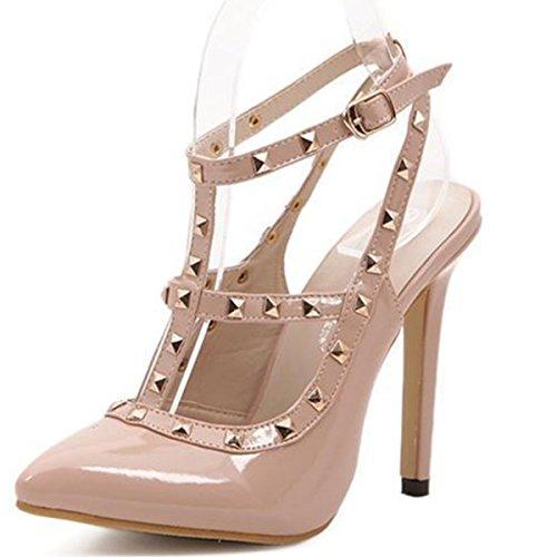 LOBTY Damen Hohen Absatz Mary Jane Riemen Schleife Strass Abendschuhe Pumps Sandalen Schuhe Mit 11 cm hoch hohl Fischkopf Hochzeit Schuhe Rivet Schuhe Beige