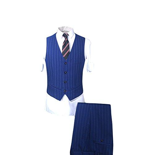 Smoking tuta Fit Slim Yffushi Moderno Gessato Verticale Mens Vestito Plaid Blu 3 AxZtqnwC