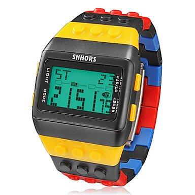 El reloj de los hombres de la VIVI la práctica de deportes de los ladrillos de bloque de estilo Digital LCD banda de plástico de colores: Amazon.es: Relojes