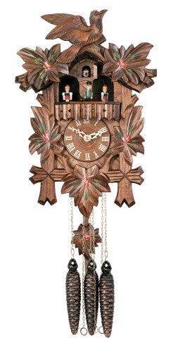 River City Clocks One Day Musical Cuckoo Clock with Dancers, Five Hand-Carved Maple Leaves, One Bird, and Hand-Painted Flowers - 14 Inches Tall - Model # MD411-14P