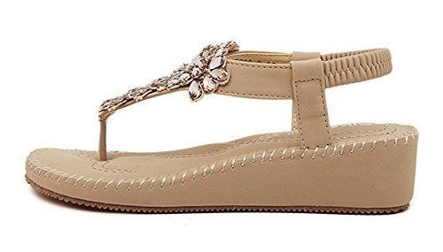 Clip Femme Plage Abricot Chaussures Mode Sandales De Aisun Toe qUdwS6XUn