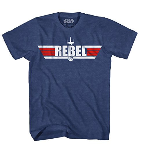 Star Wars Men's Top Logo with Rebel Alliance Starbird Insignia T-Shirt, Navy Heather, Large (Rebel Alliance Star Wars)