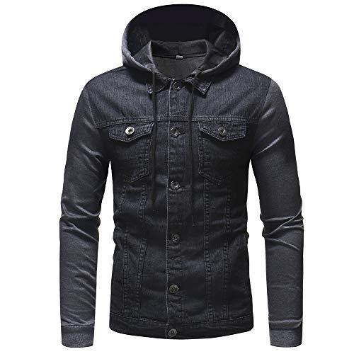 Sunhusing Mens' Autumn Winter Hooded Vintage Distressed Denim Jacket Tops Coat Outwear ()