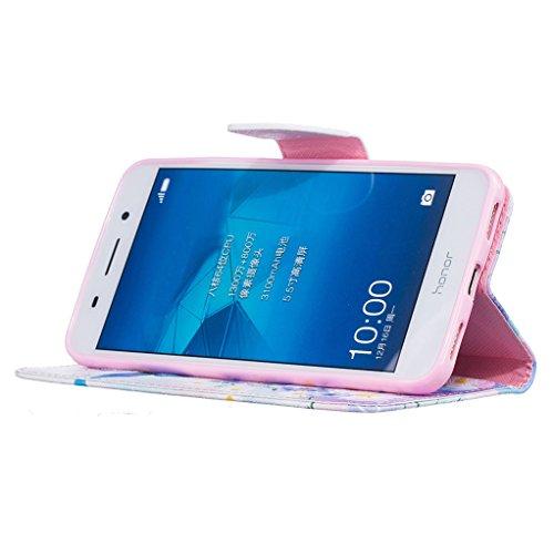 Trumpshop Smartphone Carcasa Funda Protección para Huawei Y6 II + Dont Touch My Phone (oso del bebé) + PU Cuero Caja Protector Billetera con Cierre magnético [No compatible con Y6 y Y6 II Compact] Hada de la Mariposa