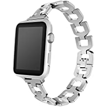 Maxjoy for Apple Watch Band - 38mm Metal Replacement Strap iWatch Link Bracelet Solid Chain Stainless Steel Smart Watch wristband with Clasp Buckle for Apple Watch Series 3, 2, 1 Sport Edition, Silver