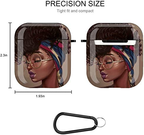 African American Girl Airpods Case Cover, Icemodo Black Girl Airpods Accessories Compatible with Apple Airpods 1st/second,Shockproof Protective Case Cover for Girls Women with Keychain