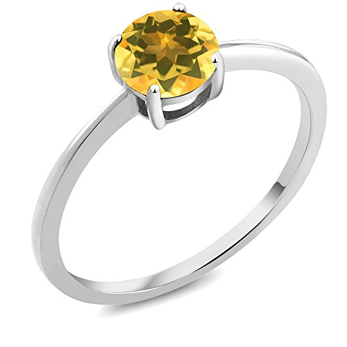 10K White Gold Engagement Promise Ring 0.70 Ct Round Yellow Citrine by Gem Stone King