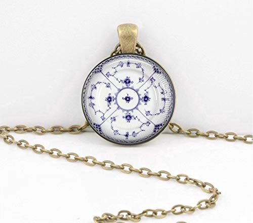 - Art Picture Necklace,Royal Copenhagen Plate Blue and White Pendant Necklace Inspiration Jewelry or Key Ring,Gift of Love