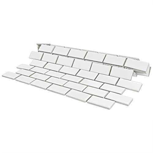 SomerTile FKOVBS11 Marion Subway Porcelain Mosaic Floor and Wall Tile, 11.875'' x 12'', Glossy White by SOMERTILE (Image #4)