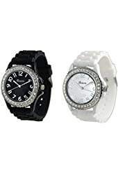 White Black 2 Pack Geneva Crystal Rhinestone Large Face Watch with Silicone Jelly Link Band