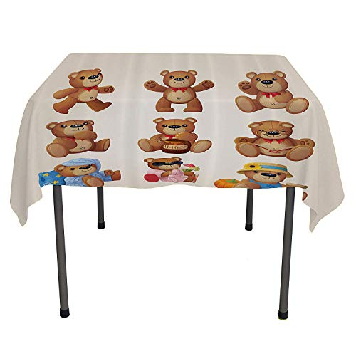 - Cartoon Decor, Waterproof Table CoverSet of Cute Happy Teddy Bears with Funny Different Faces Nostalgic Style Kids Decor, Dinning Tabletop Decoration, 54x54 Inch Chocolate Cream