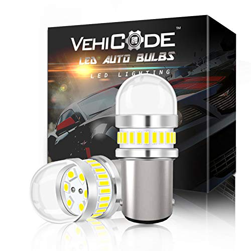VehiCode Low Voltage 12V 1142 Daylight LED Light Bulb (6000K Natural White) - 1076 90 68 1004 BA15D Dual Contact for Car RV Camper Trailer Porch Marine Boat Interior Dome Outdoor Landscape (2 Pack) 68 Tail Light Panel