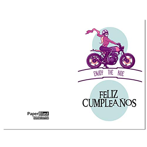 Amazon.com: Girl Biker Feliz Cumpleanos Birthday Card in ...