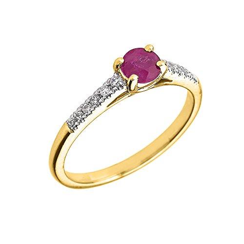 Bague Femme/ Bague De Fiançailles 14 Ct Or Jaune Diamant Et Rubis