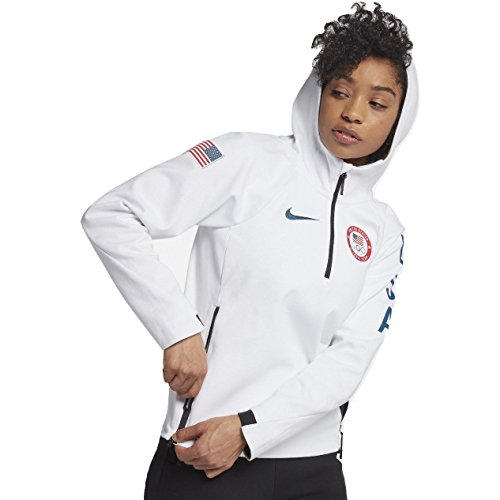 (NIKE Sportswear Tech Fleece Team USA Women's Pullover Jacket (White/Obsidian, Large))