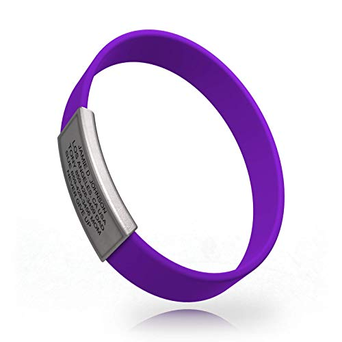 - Road ID - Official ID Bracelet - The Wrist ID Stretch - 13mm Wide - Silicone Wristband - for Athletes - 5 Colors