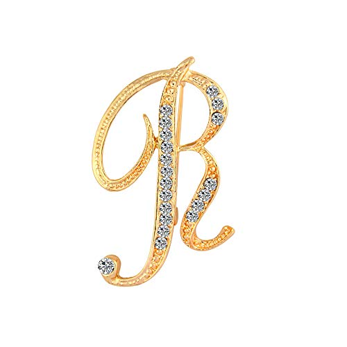 Opromo 26 Letters Silver Plated Metal Clear Crystal Lapel Pin Brooches Collar-Gold Letter R-1pcs