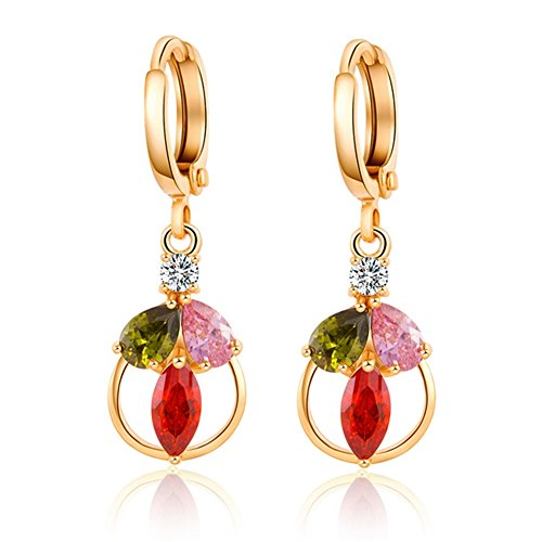 [ALot-Jewelry Korean New Hand-set Exquisite Color Zircon Earring for Female(G1)] (Black Russian Male Adult Costumes)