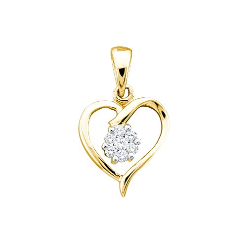 10kt Yellow Gold Womens Round Diamond Flower Cluster Heart Pendant 1/12 Cttw (I2-I3 clarity; I-J color)