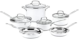 Cuisinart CSMW-10 Chef\'s Classic Stainless Steel 10-Piece Cookware Set, White