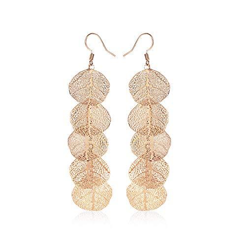 Rose Gold Long Leaf Earrings Chandelier Long Earrings for Women Girls(Long leaf)