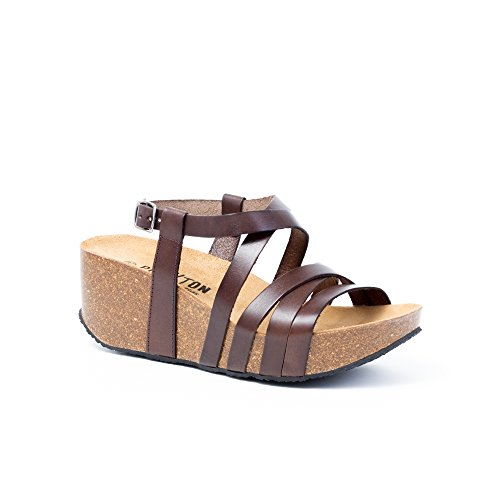 PLAKTON Women's Fashion Sandals Brown kGjrH3
