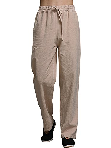 Mens Linen Pants Beach Casual Loose Fit Work Elastic Waist Drawstring Golf Cargo Trousers with Pockets Khaki