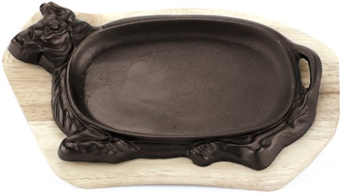 Paderno World Cuisine Cast-Iron Sizzling Platter with Wooden Tray, Animal Shaped