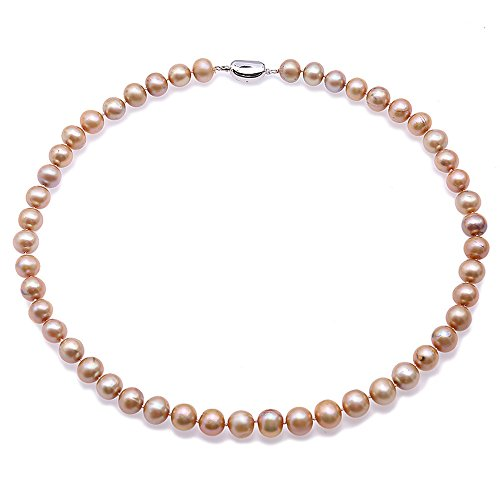 JYX Pearl Necklace 9-10mm Round Champaign-golden Freshwater Cultured Pearl Necklace 18