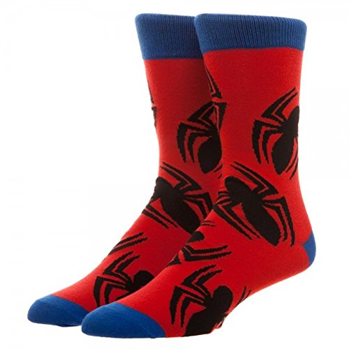 Marvel Spiderman Large All over Print Crew Socks