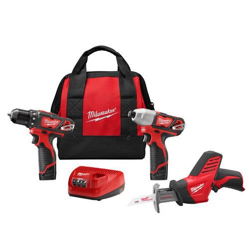 Milwaukee 2498-23 M12 12-Volt Lithium-Ion Cordless Combo Kit (Cordless Recip Saw Kit)