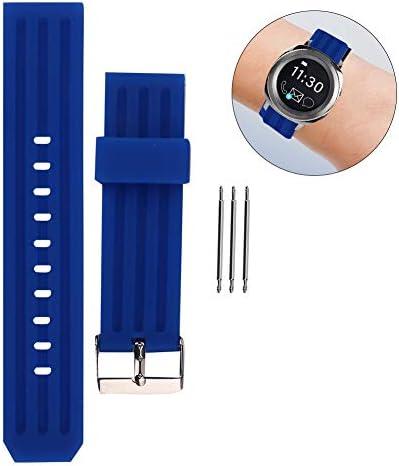 時計バンド、22mmシリコンウォッチストラップ、3つのスプリングバーウォッチメーカーがアウトドアスポーツ用腕時計のアクセサリーを修理(青い)