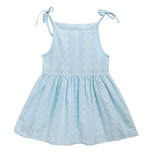 Daily Dress for Kids Baby Girls Floral Printed Strap Sleeveless Casual Sundress Party Dress (Age: 18-24 Months, Light Blue) by FDSD Baby Clothes (Image #2)