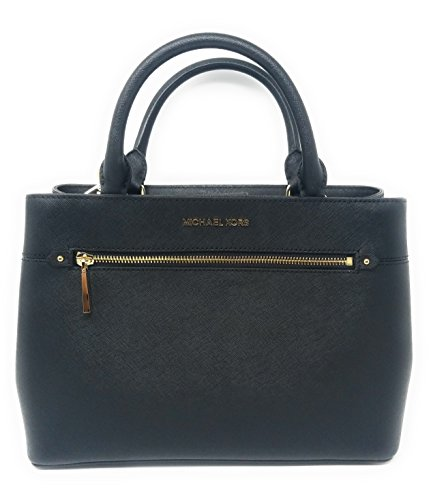 MICHAEL Michael Kors Women's HAILEE Medium Satchel Leather Handbag BLACK